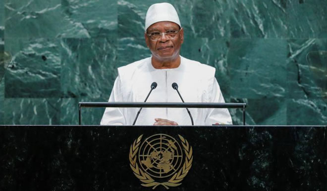 Mali's President Ibrahim Boubacar Keita addresses the 74th session of the United Nations General Assembly at U.N. headquarters in New York City, New York, U.S., September 25, 2019. REUTERS/Eduardo Munoz