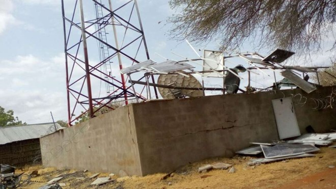 A communication mast that was destroyed by suspected Shabaab militia in a past attack. PHOTO | FILE | NATION MEDIA GROUP