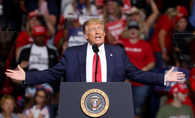 President Donald Trump arrives at a campaign rally at the BOK Center in Tulsa, Oklahoma on June 20, 2020. (Photo by Win McNamee/Getty Images)