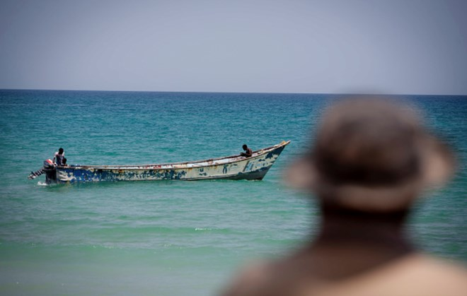 Members of the Puntland Maritime Police Force on patrol for pirates near the village of Elayo, Somalia. (Photo by jason florio/Corbis via Getty Images)