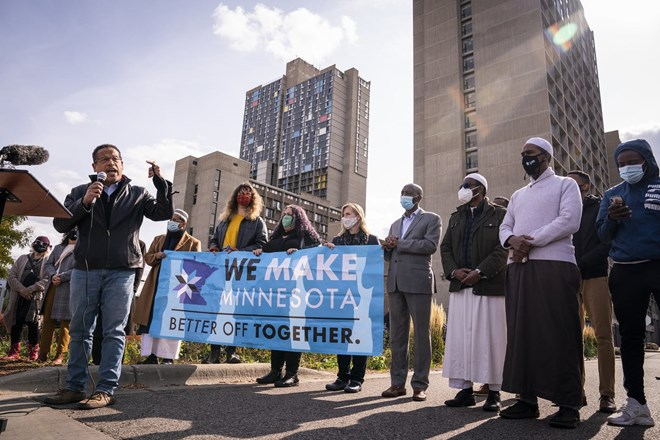 Minnesota Attorney General Keith Ellison spoke earlier this month when faith and community leaders held an event this month to encourage voting.LEILA NAVIDI – STAR TRIBUNE