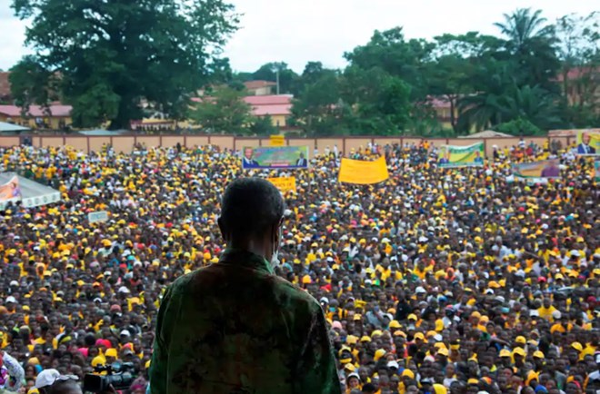 Guinean President Alpha Condé addresses supporters at a campaign rally in Kissidougou on Oct. 12, 2020. (Carol Valade/AFP/Getty Images)