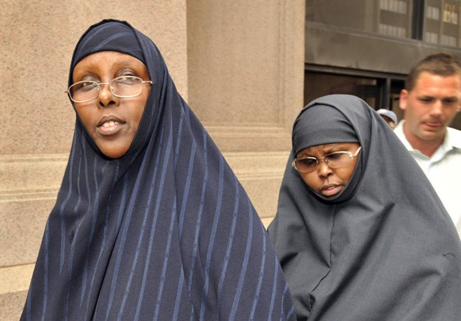 Hawo Mohamed Hassan, left, and Amina Farah Ali entering the federal courthouse during their trial.STAR TRIBUNE