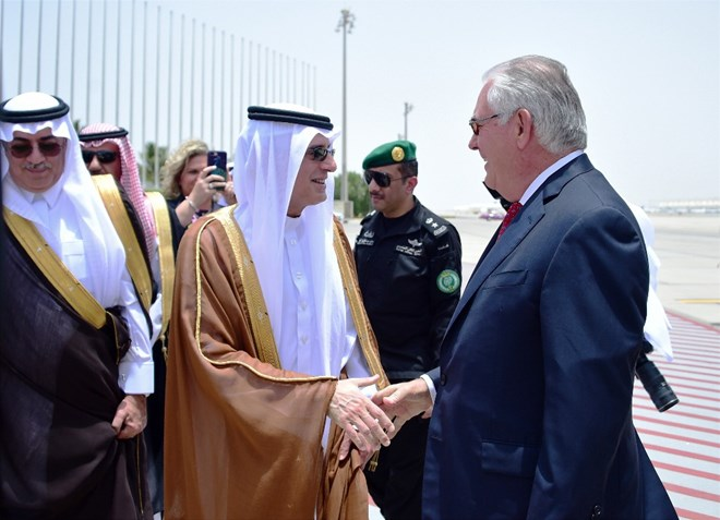 U.S. Secretary of State Rex Tillerson is greeted by Saudi Foreign Minister Adel al-Jubeir upon his arrival in Jiddah, Saudi Arabia, Wednesday, July 12, 2017. Tillerson has held talks with the king of Saudi Arabia and other officials from the countries lined up against Qatar, but there has been no sign of a breakthrough so far in an increasingly entrenched dispute that has divided some of America's most important Mideast allies. (U.S. State Department, via AP)