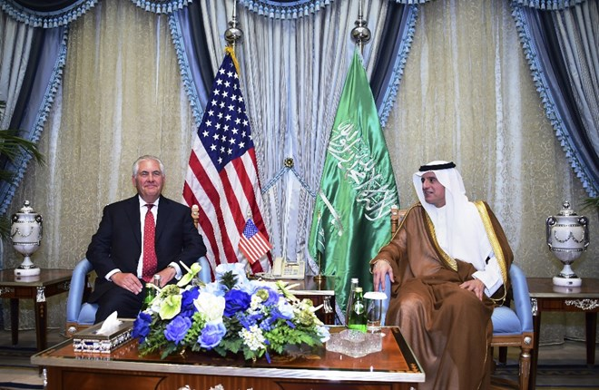 U.S. Secretary of State Rex Tillerson, left, meets with Saudi Foreign Minister Adel al-Jubeir in Jiddah, Saudi Arabia, Wednesday, July 12, 2017. Tillerson has held talks with the king of Saudi Arabia and other officials from the countries lined up against Qatar, but there has been no sign of a breakthrough so far in an increasingly entrenched dispute that has divided some of America's most important Mideast allies. (U.S. State Department, via AP)