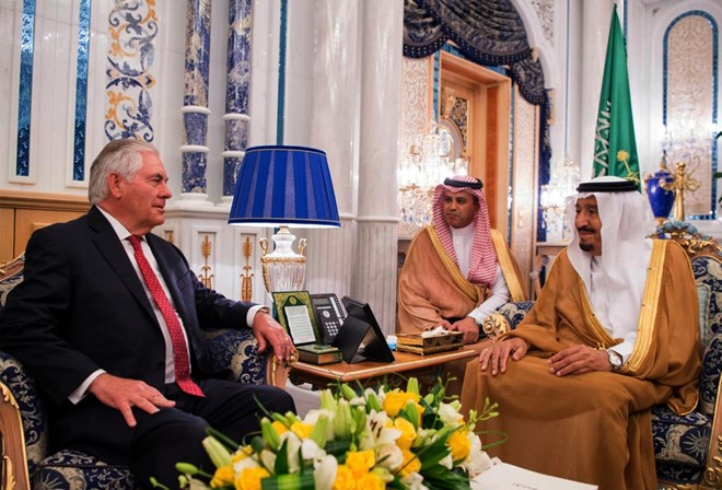 In this photo released by Saudi Press Agency, Saudi King Salman, right, receives U.S. Foreign Secretary Rex Tillerson, in Jiddah, Saudi Arabia, Wednesday, July 12, 2017. (Saudi Press Agency via AP)