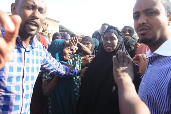 A  group of residents at Elwak Hospital in Mandera react on September 13, 2018, after the killing of three family members said to have been picked by police.  PHOTO | MANASE OTSIALO | NATION