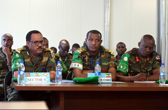 Senior officers from the African Union Mission in Somalia (AMISOM) attend the opening session of the AMISOM Sector Commanders' Conference to discuss and review the Concept of Operations in Mogadishu, Somalia, on 11 February 2019. AMISOM Photo / Omar Abdisalan